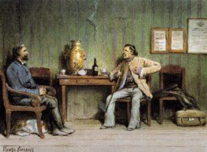 Пётр Петрович Соколов. Иллюстрация 1890-х к рассказу «Пётр Петрович Каратаев»